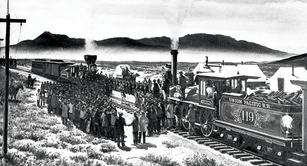 trans continental railroad The first transcontinental railroad was a railway line that connected the eastern united states to the west coast more than 2,000 miles of track were laid, and the railroad was completed on may 10, 1869.